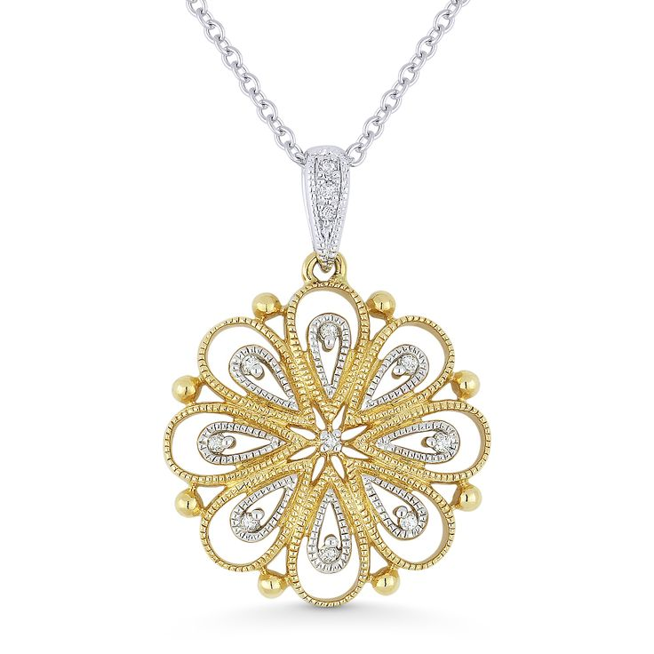 0.04ct Round Cut Diamond Flower Pendant & Chain Necklace in 14k Yellow & White Gold - AM-DN4340 - AlfredAndVincent.com