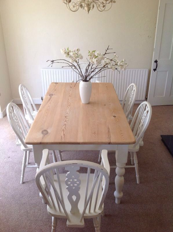 Shabby Chic Large Chunky Farmhouse Table - Seats 8 Sold With 6 Wheelback Chairs (£395 starting bid, with no bidders, at time of pinning)