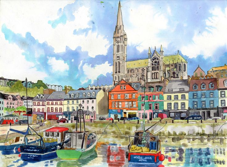 "Painting with ink on paper. Cobh County Cork. 16""x12"""