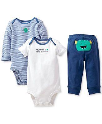 Carter's Baby Boys' 3-Piece Monster Bodysuits & Pants Set