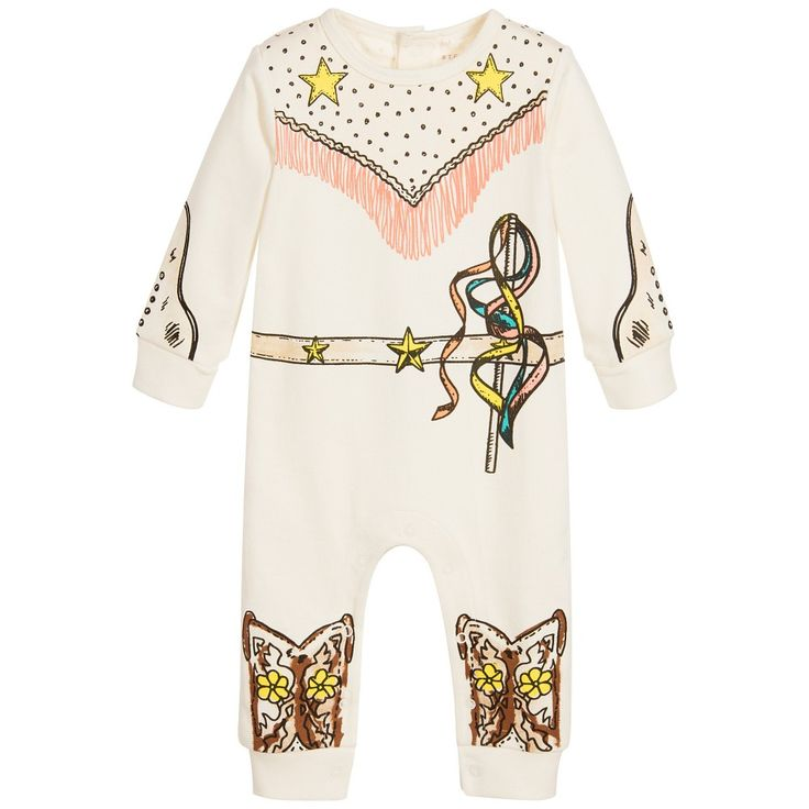 Stella McCartney Kids Girls Ivory Cotton Cowgirl Babygrow at Childrensalon.com