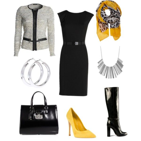 Work outfit - for pear shape - yellow, grey, black