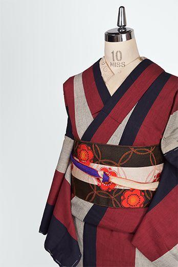 竹久夢二の挿絵のようなモダン縞模様小粋な袷着物 - アンティーク着物・リサイクル着物のオンラインショップ 姉妹屋