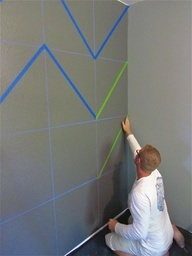 How to paint chevron walls - Okay, I think I am going to try this in Enloes room (One grey wall, white chair rail, grey under the rail, light yellow chevron on top using the same paint color but in different finishes - flat and glossy - as seen in another pin)