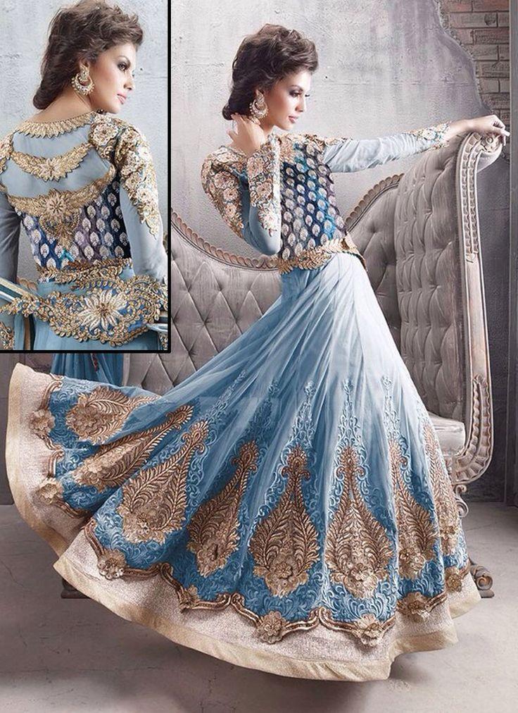 Zoya Sky Blue Anarkali Churidar | Kavya Sarees Surat