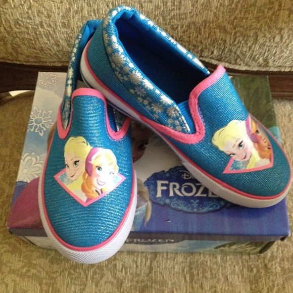 DISNEY Anna & Elsa Let It Go Slip-On Sneakers Beautiful DISNEY Anna & Elsa Frozen Slip-On Sneakers. Youh Size 9 Toddler NEW WITH BOX. Shoes Sneakers