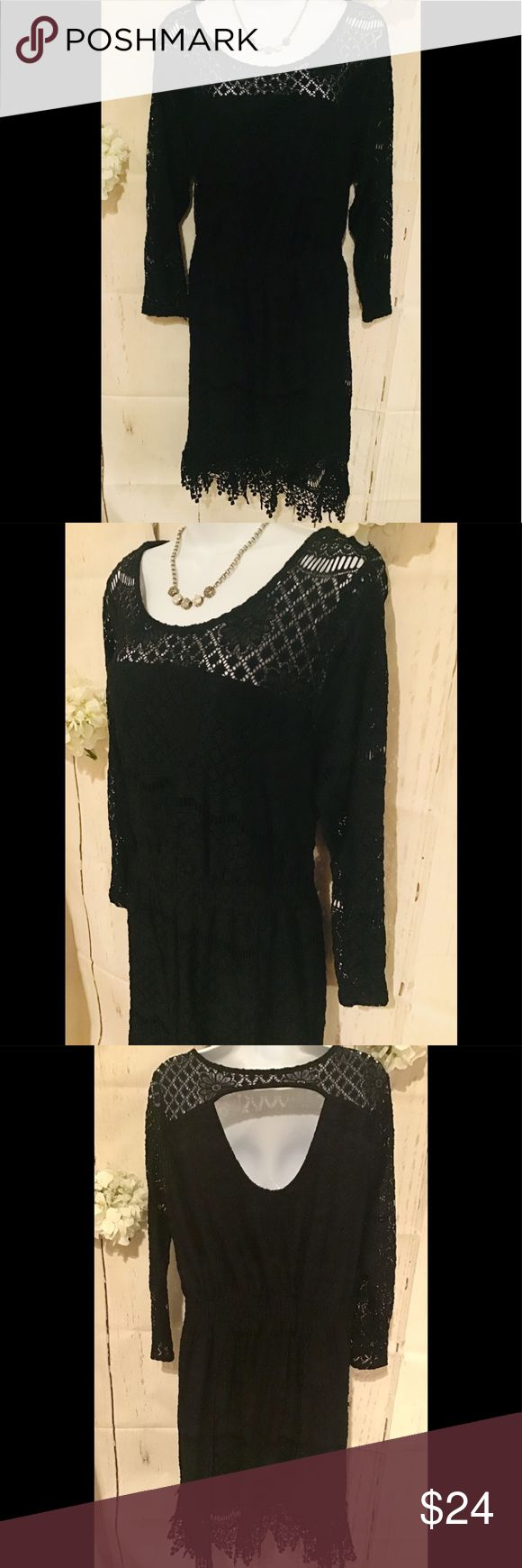 Aerican Rag womens 2X Black lace party d…