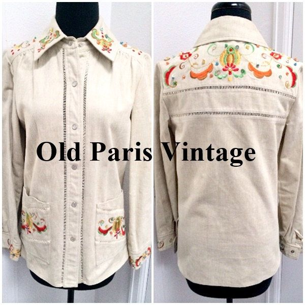 GORGEOUS Vintage 1970's Embroidered Beaded Polished Denim Rockabilly Jacket Snap Front British Crown Colony Rocker Hipster Avant Garde by OldParisVintage on Etsy