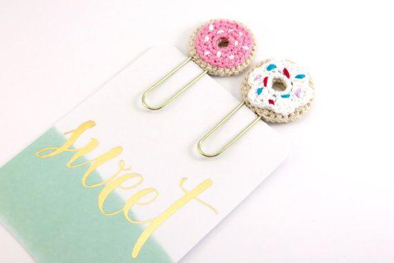 Crochet Donut Paper Clips 2 pcs Page Marker par CrochetLovesPaper