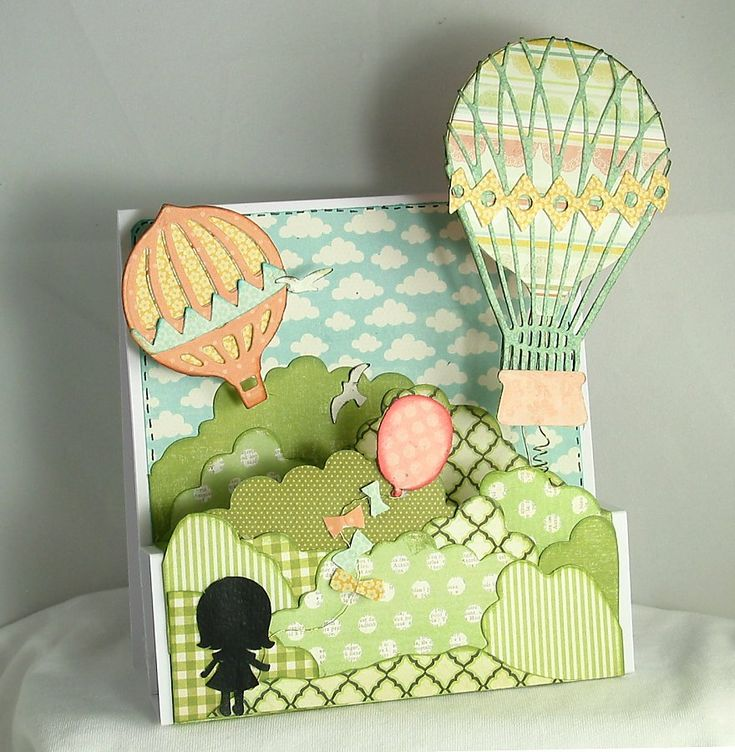 DoCrafts HOT AIR BALLOON XCut Build A Scene Dies Set | ve been playing with the Vintage Hot Air Balloon set and came up ...