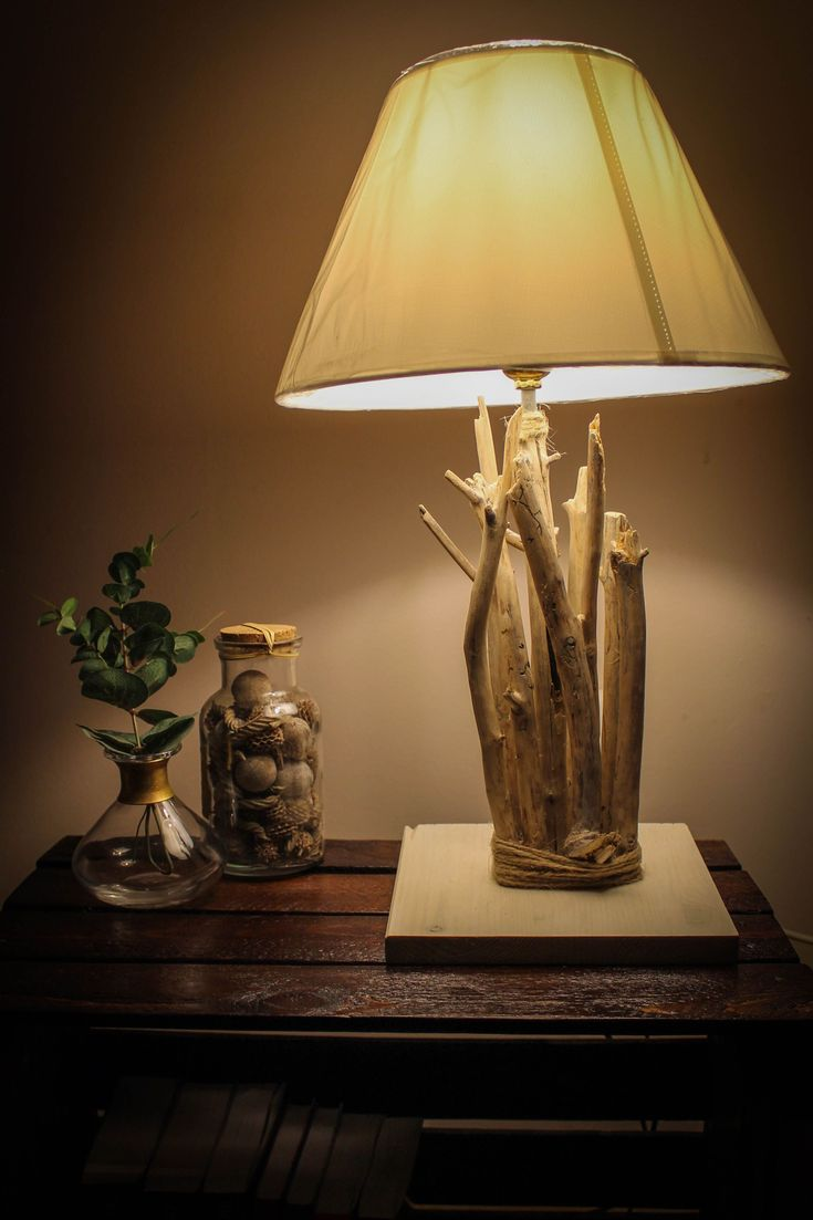 Wood Lamp Handmade On Wooden Pallete With Warm Light In The