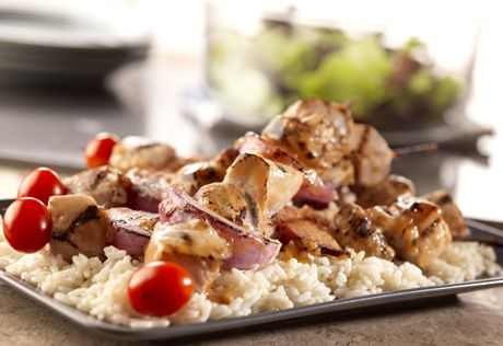 Here's a terrific grilling recipe...it uses pork loin and veggies basted with a sweet and sour sauce. These versatile kabobs are great for relaxed weekend or weeknight cooking.