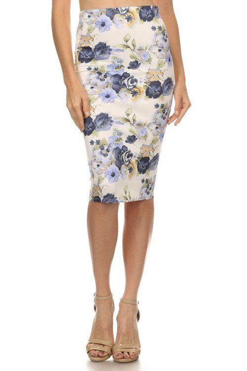 Roses On Roses Pencil Skirt