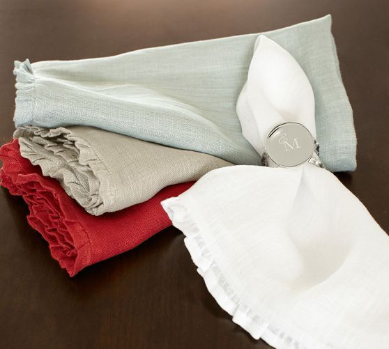 rustic luxe ruffled linen dinner napkin 20 sq set of 4 white pottery barn home sweet. Black Bedroom Furniture Sets. Home Design Ideas
