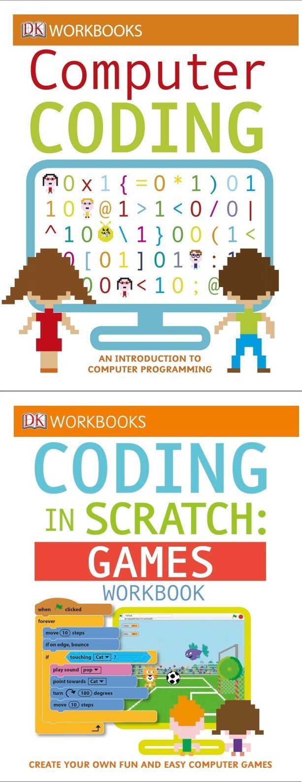 Try one of DK's awesome series of interactive coding workbooks. Each one offers a series of exercises and projects designed to get kids using the computer coding concepts they're learning.