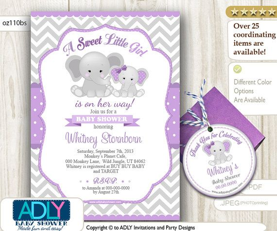 Elephant Girl Shower Invitation in Purple by aoprintablesforkids