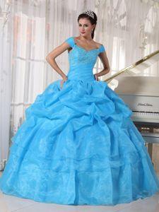 Sky Blue off Shoulders Appliqued Quinceanera Dresses with Pick-ups