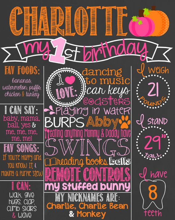 Fall First Birthday Chalkboard Poster // 1st Birthday Chalkboard Sign // Custom Printable // Girl // Fall Birthday // Pumpkins // Pink by PersonalizedChalk