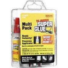 Super Glue The Original Super Glue, 12-pack #15187 by Super Glue. $8.99. From the Manufacturer                Original formula Super Glue Bonds instantly. Use on metal, aluminum, most plastics, ceramics, wood, pottery, and more. 12 tubes in a reusable carrying case.                                    Product Description                Original formula bonds instantly and sets in seconds with a precision applicator on a self piercing tube. Best for continuous streams of ...