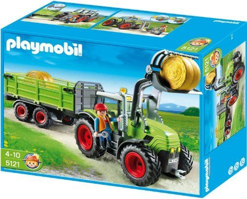 Playmobil Hay Baler with Trailer by Playmobil. $44.80. 54 x 12 x 15 cm. and two interchangeable front loader tools (clamshell, lift-fork).