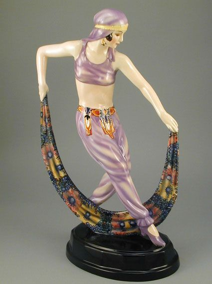 Designed by Joseph Lorenzl - Art Deco ceramic figurine manufactured by Goldscheider