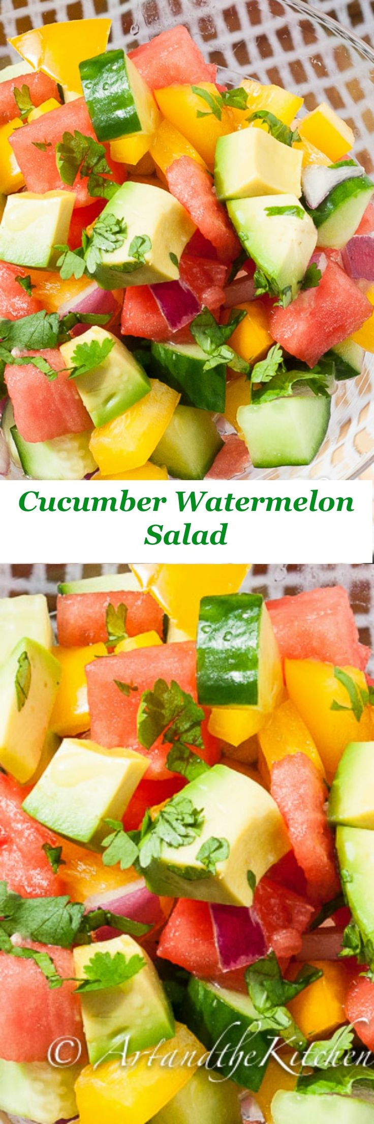 Cucumber Watermelon Salad is refreshingly delightful, tossed together with a light avocado oil citrus dressing spiked with Tequilla!