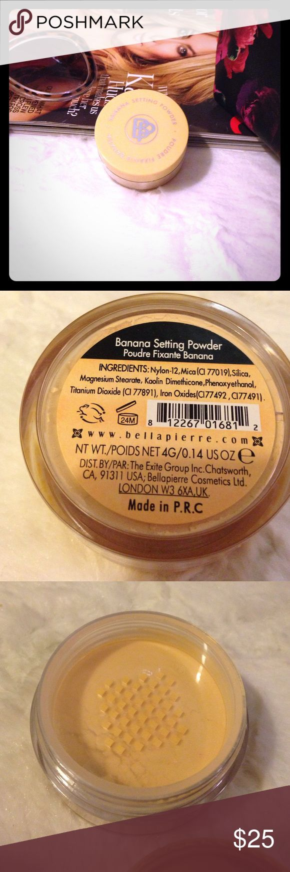 BELLA PIERRE Banana Setting Powder FULL SIZE of Bella Pierre's Banana Setting Powder. A color correcting setting Powder with a yellow hue to counteract redness or discoloration. Sealed, never used or swatched.  ▪REASONABLE OFFERS WELCOMED or BUNDLE FOR 15% OFF!▪️ Bella Pierre Makeup Face Powder