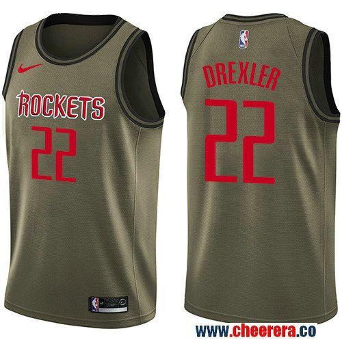 Men's Nike Houston Rockets #22 Clyde Drexler Green Salute to Service NBA Swingman Jersey