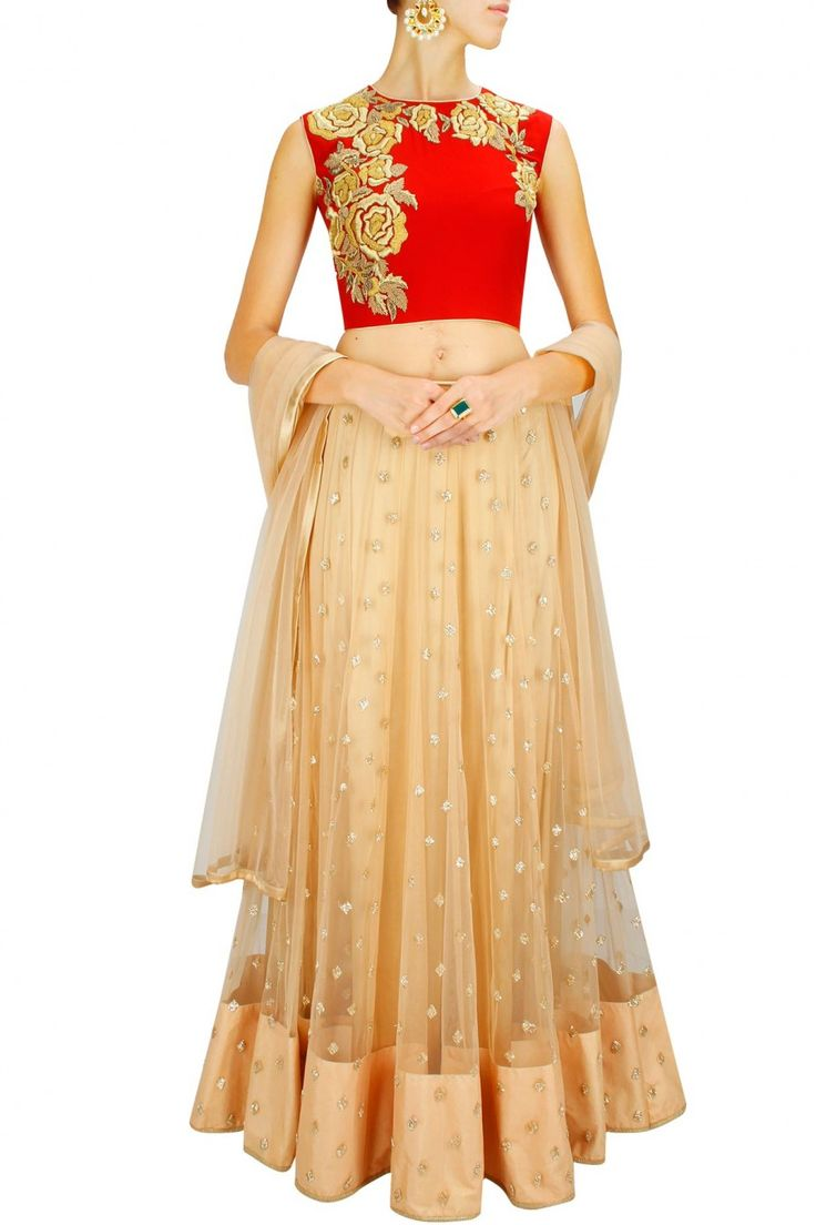 Red and gold rose embroidered lehenga set by Bhumika Sharma.