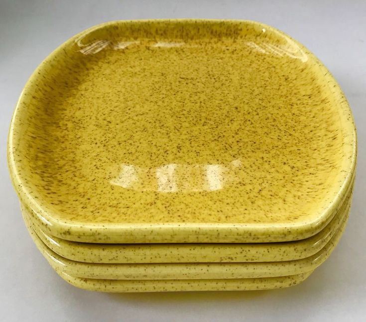 Denwar Bantu Side Plates Yellow Speckled Mid Century California MCM