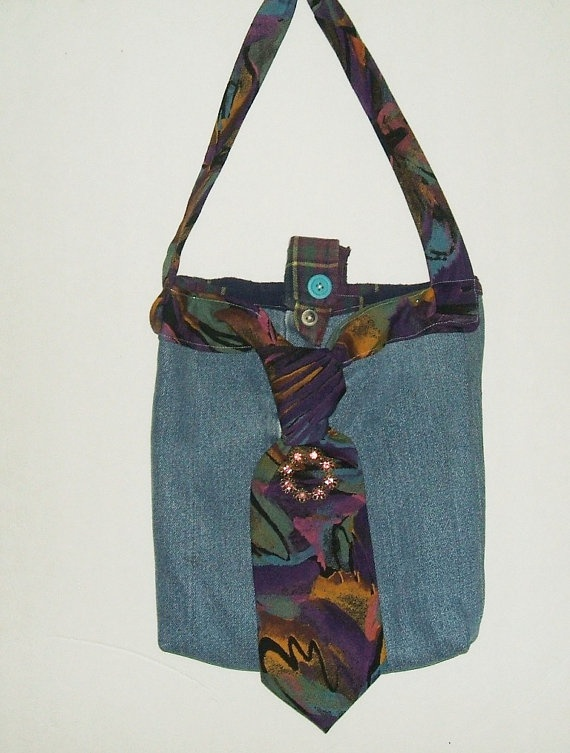 Van Heusen Abstract Neck Tie Purse Recycled Using a Man's Tie, Blue Jeans and a Button up Shirt, 100 Percent recycled