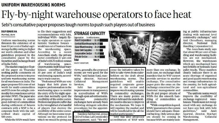 SLCM welcomes SEBI guidelines about warehousing norms - Business Standard