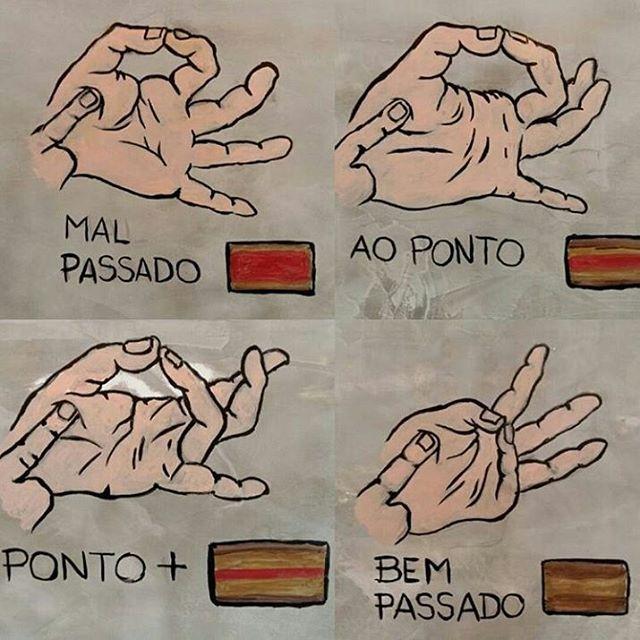 Para saber oponto da carne, faça um teste com a sua mão. Encoste o dedo indicador no polegar, formando um círculo. Com o dedo da outra mão, sinta a região do músculo abaixo do polegar. Ele estará na consistência da carne mal passada. Ao encostar o dedo médio no polegar a consistência é da carne ao ponto, e com o anelar, mais para bem passada. Aí é só apalpar a carne, com cuidado para não se queimar, e verificar o ponto. __________________________ Acesse o site: www.churrasco4you.com.br  As…