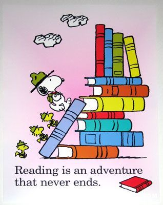 Reading is an adventure that never ends -- Beagle scouts climbing books - Snoopy Poster