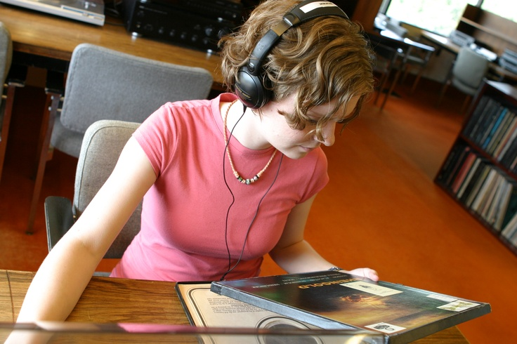Listening to something from the vinyl collection, Music Room, Special Collections, Killam Library