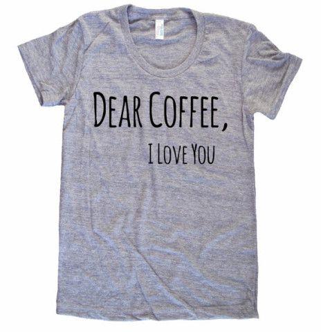 Dear Coffee I Love You American Apparel Tri Blend screenprint Track Tee Shirt