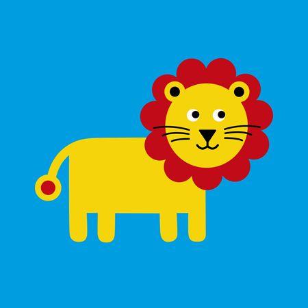 Lion card on blue
