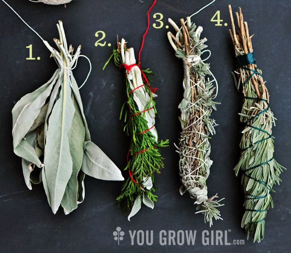 Gifts from the Garden: Homegrown Smudge Sticks. What plants to use, what string, how to wrap it and more.