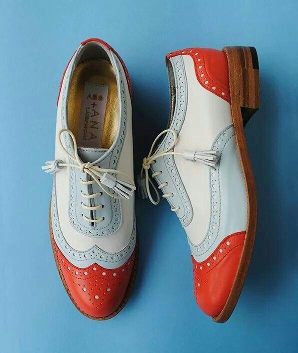 ABO + Ana Ljubinkovic orange, blue,beige brogues #shoes #brogues #oxfords #oxfordshoes
