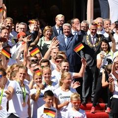 German Olympic team arrives home in Frankfurt am Main