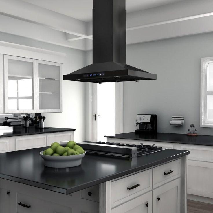 """30 Brilliant Kitchen Island Ideas That Make A Statement: ZLINE 36"""" 760 CFM Island Range Hood In Black Stainless"""