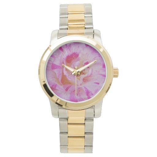 Candy striped pink rose wrist watch