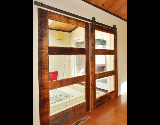 Double 3 glass panel sliding reclaimed wood doors for Barn doors for interior rooms