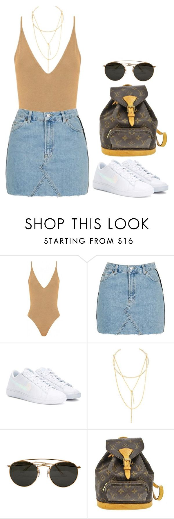 """#"" by bruna-linda-12 on Polyvore featuring moda, Topshop, NIKE, Jules Smith, Ray-Ban e Louis Vuitton"