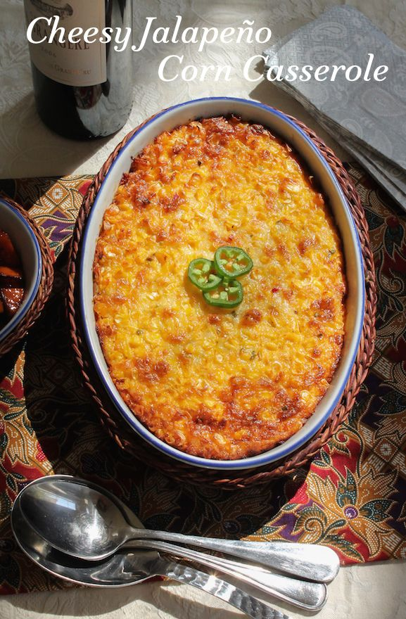 If you are a fan of cheese and spice and corn, you are going to love this cheesy jalapeño corn casserole. The whole dish is great, but that golden top is the absolute best part. #SundaySupper