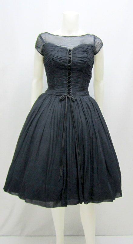 Vintage 50's Black Chiffon Dress 50s Cupcake by RosasVintageFinds - https://www.etsy.com/uk/listing/183725385/vintage-50s-black-chiffon-dress-50s?ref=sr_gallery_19&ga_search_query=rockabilly+dress&ga_page=2&ga_search_type=all&ga_view_type=gallery