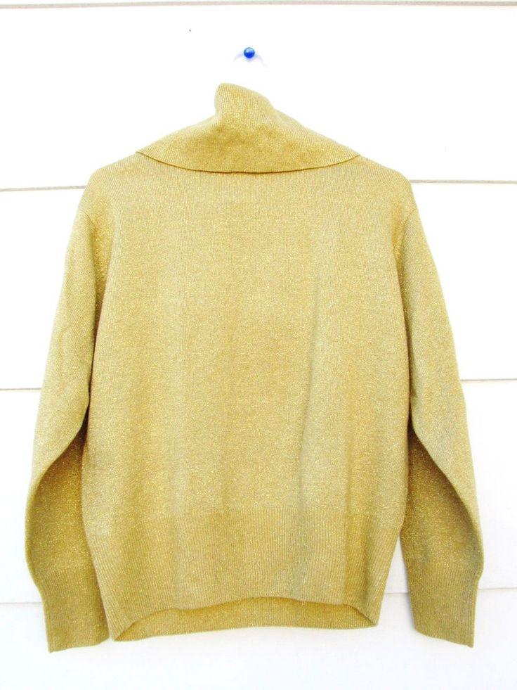 Dressbarn Women's Yellow Gold Metallic Mock Turtleneck Sweater Long Sleeve LARGE #Dressbarn #TurtleneckMock #Formal