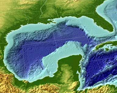 General facts about the Gulf of Mexico. C1W18. Image showing continental shelf to link this week's science and geo memory info.