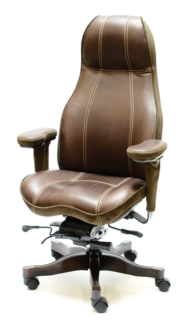 Thick Cream Contrast Stitch on 2390 High Back Ultimate Executive Chair in Harness Chocolate Premium Leather.  Also includes Special Order Embossed Premium Leather Two Tone Upgrade and Contrast Piping and Cherry Ultimate Wood Package Upgrade.