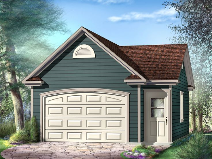 60 best 1 car garage plans images on pinterest car for Building a detached garage on a slope